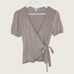 Caution To The Wind Stretchy Striped Wrap Top